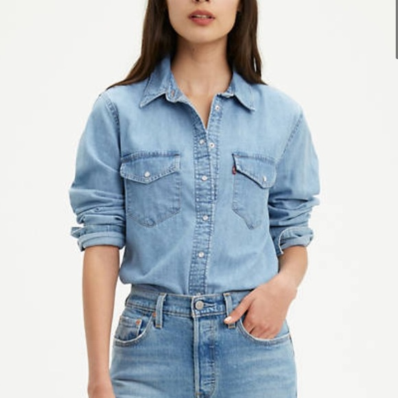 Levi's Essential Western Shirt in Cool Light Blue